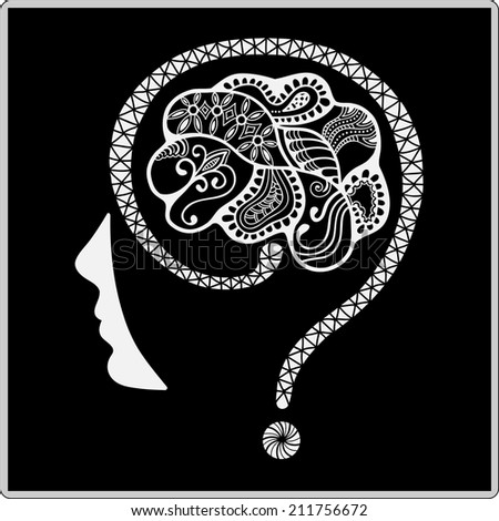 Question mark human head symbol, vector. Creativity brain, Vector illustration, ornamental pattern - stock vector