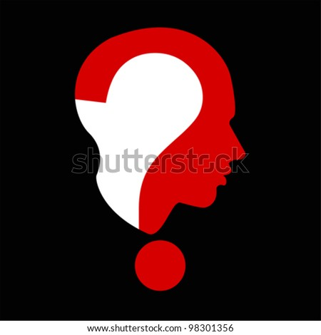Question mark human – man head symbol isolated on white, vector