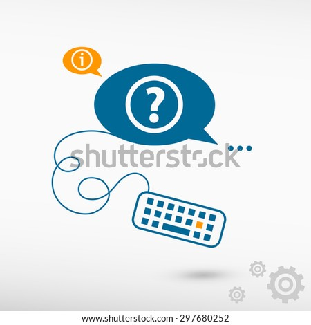 Question mark icon and keyboard on chat speech bubbles. Line icons for application and creative process. - stock vector