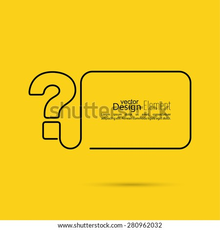 Question mark icon. Help symbol. FAQ sign on a yellow background. vector. minimal, outline. - stock vector