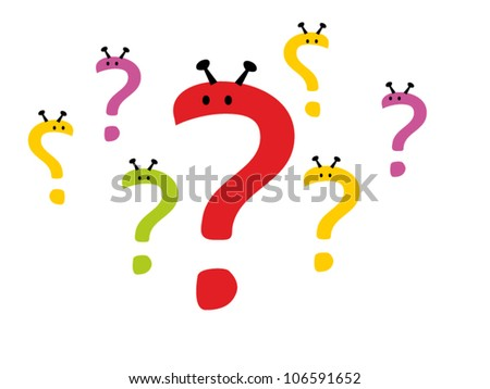 Question  mark in a joyful cartoon style. Vector illustration - stock vector