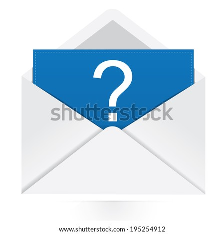 Question mark in envelope  - stock vector