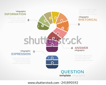 Question mark infographic template with puzzled jigsaw symbol - stock vector
