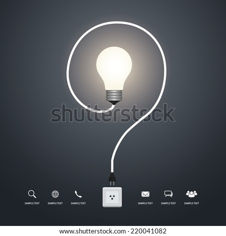 Question mark of creative light bulb. Vector infographic idea for template design. - stock vector