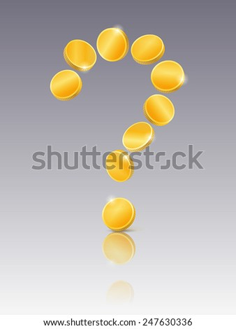 Question mark of gold coins on mirrored background - stock vector