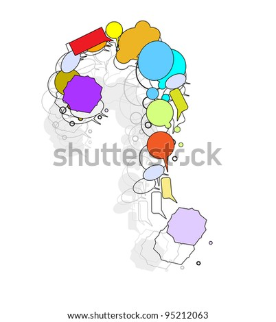 question mark with an abstract image of beauty and uniqueness - stock vector