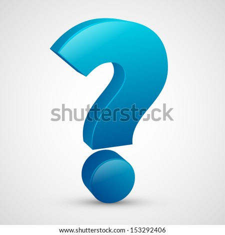 Question mark with blue color, 3D design vector - stock vector