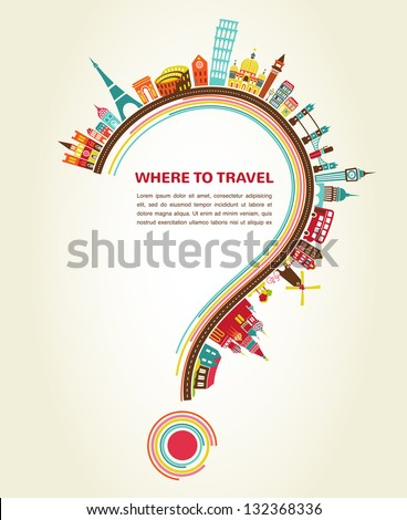 question mark with tourism icons and elements, infographic - stock vector