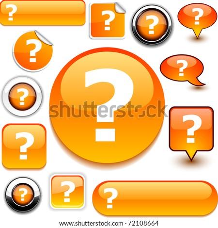 Question orange signs. - stock vector