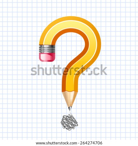 Question symbol made of pencil - stock vector