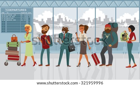 Queue of various people in the airport with luggage - stock vector
