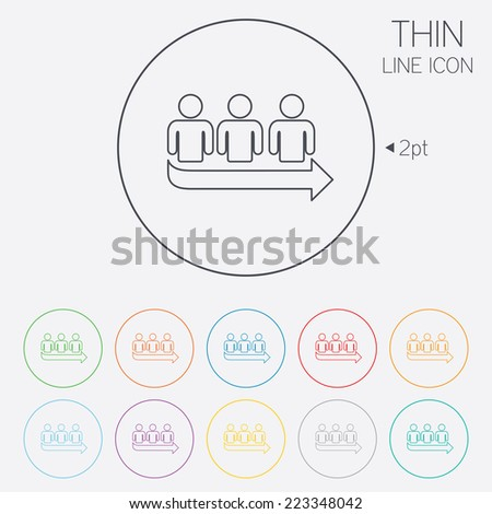 Queue sign icon. Long turn symbol. Thin line circle web icons with outline. Vector - stock vector
