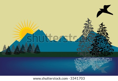 Quiet landscape scene by lake as bird wings it overhead in this vector illustration. - stock vector