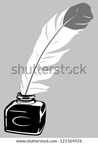 Quill Pen & Inkwell - stock vector