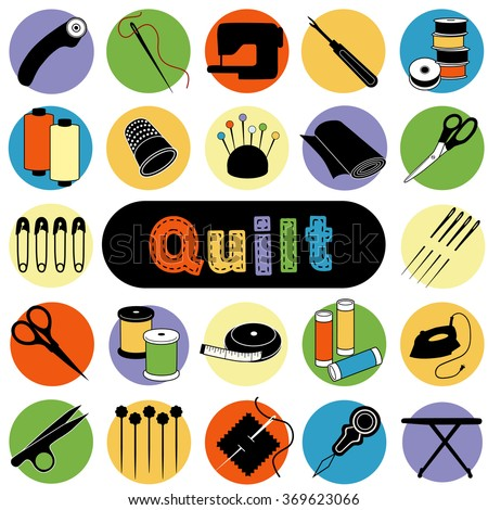 Quilt and patchwork icons, tools and supplies for sewing, applique, trapunto, textile arts and crafts.  - stock vector
