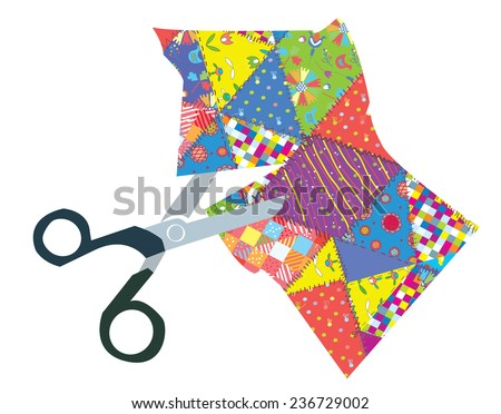 Quilt and scissors funny illustration - stock vector