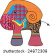 Quilt - Patchwork Elephant - stock vector