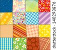 Quilt Patchwork Texture. Funky Textile. Seamless Vector Pattern - stock vector