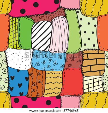 Quilt seamless wallpaper with different patterns - stock vector