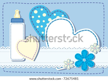 Quilted birth announcement card  a boy - stock vector