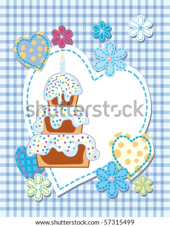 Quilted birth announcement card for a boy - stock vector