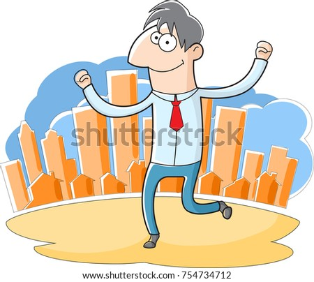 Quirky cartoon businessman jumping happy