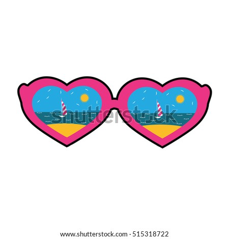 Quirky cartoon patch. Sunglasses in the shape of hearts with the reflection of the beach. Vector illustration. Template for Valentine's day.
