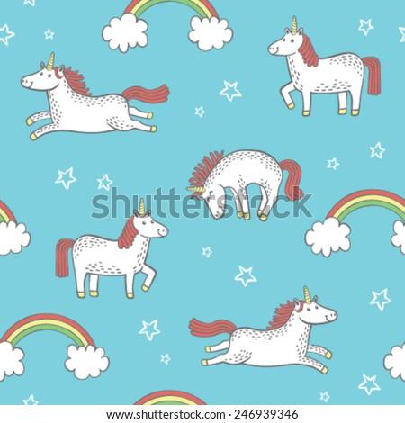 Quirky cartoon unicorn repeat pattern. - stock vector