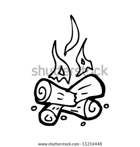 Quirky Drawing Of A Campfire