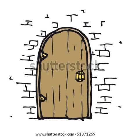 quirky drawing of a door in wall - stock vector