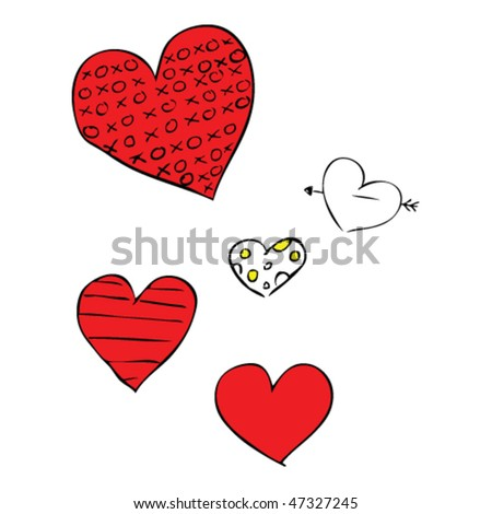 quirky drawing of Valentine hearts - stock vector