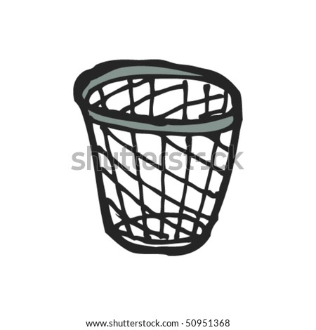 quirky drawing of waste paper bin