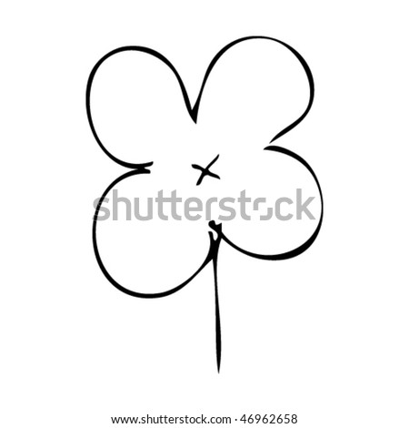 quirky ink drawing of a four leaf clover