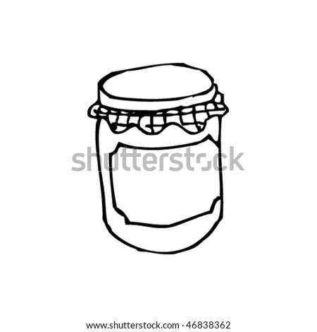 quirky ink drawing of a jam jar