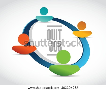 quit job network sign concept illustration design graphic - stock vector