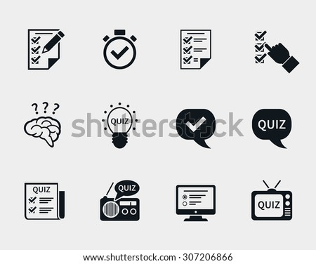 Quiz icon set. Question and answer, questionnaire and information, test and think, document and checklist. Vector illustration - stock vector