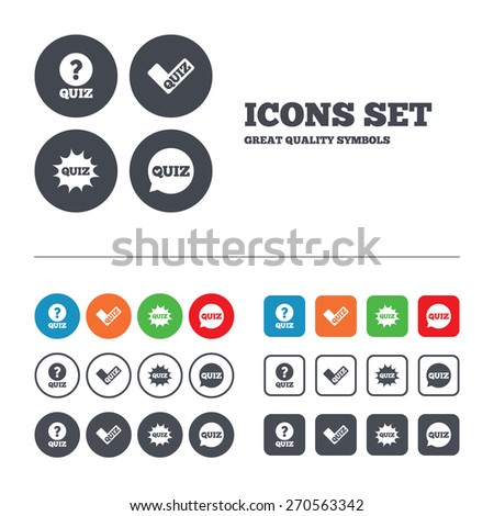 Quiz icons. Speech bubble with check mark symbol. Explosion boom sign. Web buttons set. Circles and squares templates. Vector - stock vector