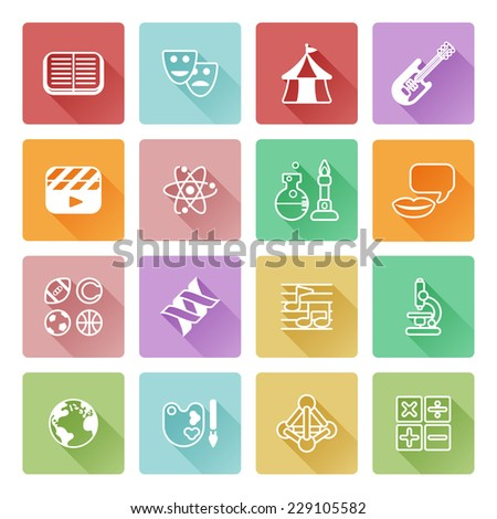 Quiz Or Academic Education Subject Category Icons Covering Math Sports Music Science