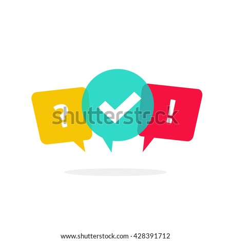 Quiz vector logo isolate on white, questionnaire icon, poll sign, flat bubble speech symbols, concept of social communication, chatting, interview, voting, discussion, talk, team dialog, group chat,  - stock vector
