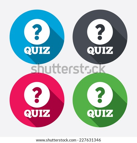 Quiz with question mark sign icon. Questions and answers game symbol. Circle buttons with long shadow. 4 icons set. Vector - stock vector