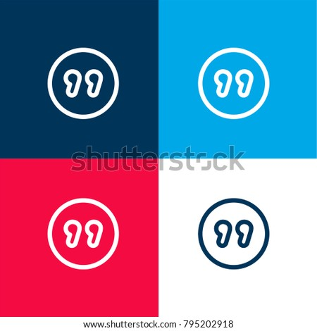 quotation mark inside circle four color stock vector 795202918