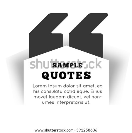 Quote blank template on white background. Vector illustration - stock vector
