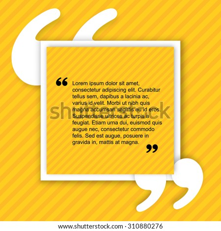 Quote creative citation Typographical Poster Template. Light yellow color version. For your commercial project or personal use. - stock vector