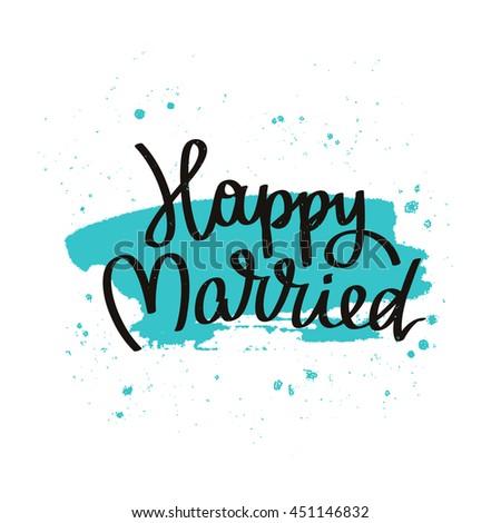 Quote Just Married Trend Calligraphy Vector Stock Vector