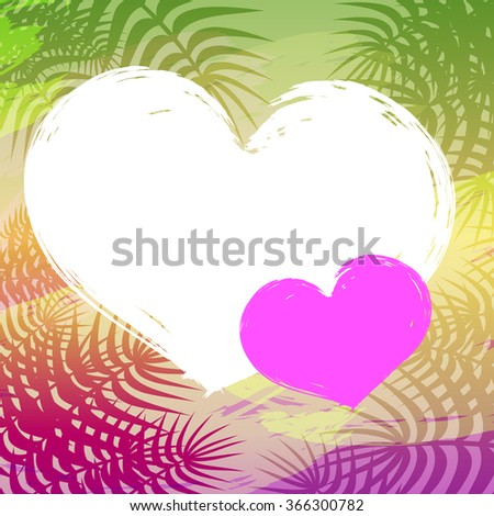 Quote heart shape blank template. Pink tone tropical background, palm leaves. Vector. - stock vector
