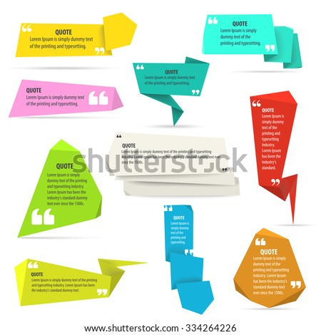 Quote shapes template set. Vector text, information origami empty boxes.  - stock vector