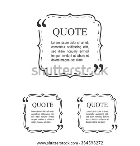 Quote Template In Vintage Frame Set. Decorative Quotation Collection. Vector. - stock vector