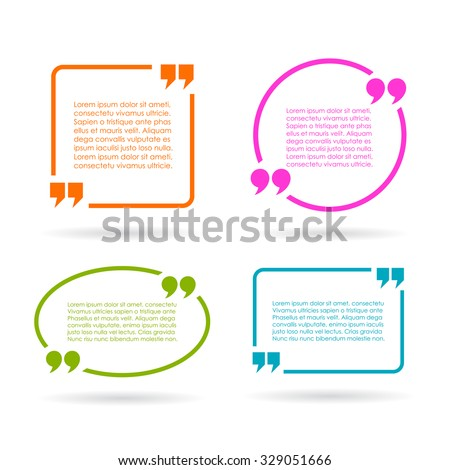 Quote text boxes isolated on white background - stock vector