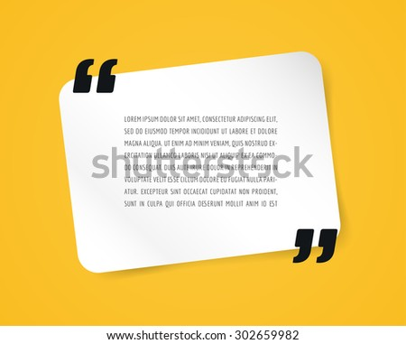 Quote text bubble. Commas, note, message and comment. Design element similar to quote. Text, commas, quote and note. Motivation quote vector. Quote element design. Sport quote citation. Quote template - stock vector