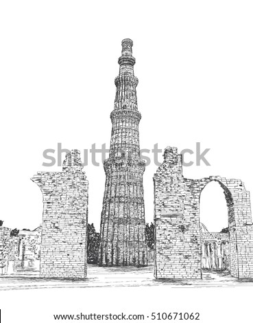 Qutub minar vector illustration new delhi india unesco world heritage site